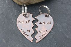 #RUSTIC COPPER #Hearts Keychain Set.  #Valentines Day Gift.  Personalized with Names and Date. #love #valentine www.cheydrea.com