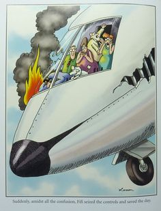 """""""The Far Side"""" by Gary Larson. Little did anyone know that Fifi was a qualified pilot."""