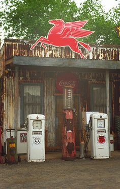 "Route 66 - Vintage Pumps and a Pegasus in Arizona. Road trip! ""The Fine Art Photography of Frank Romeo."""