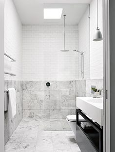 Exact layout for main bathroom From the December 2015 issue of Inside Out magazine. Styling by Mim Design… Wet Rooms, Laundry In Bathroom, Marble Bathroom, Bathroom Interior Design, Interior, Shabby Chic Bathroom, Small Bathroom, Bathroom, White Bathroom