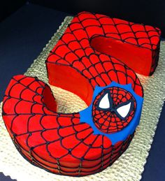 Spiderman 5th birthday cake (you could change the number to a different one) perfect superhero party idea                                                                                                                                                     More