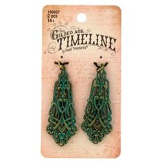 """Embrace the vintage, shabby chic look with jewelry creations that express your unique style.Burnished Gold & Green Long Dimensional Filigree are perfect for earrings, key chains, necklaces, and more. Featuring alternating gold and green, these intricately designed jewelry pieces are sure to display your flair for fashion.        Dimensions:      Length: 2""""    Width: 3/4""""          Each package includes 2 pieces."""