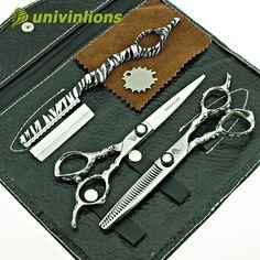 "univinlions 6"" coiffure hair cutting shears hair scissors hairdressing scissors kit hair thinning scissors barber salon tools"