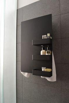 black RECTANGLE&SHELVES #Scaldasalvietteelettrico #ElectricTowelwarmers #scaldasalviette #towelwarmers #bathroom  #mg12 #termoarredo