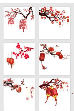 Chinese style plum lantern in 2020 Chinese Painting, Chinese Art, Chinese Style, Chinese Element, Chinese New Year Design, Chinese New Year Crafts, Japanese Tattoo Art, Japanese Art, Cherry Blossom Painting