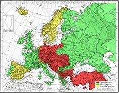 dit waren de bondgenoootschappen van de eerste wereldoorlog rood waren de geallieerde  groen de centralen en geel de neutralen
