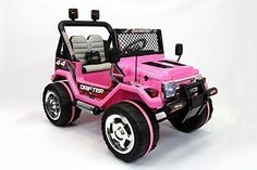 2016 Pink Jeep Wrangler Power Kids 12V Ride on Toy Remote Control Battery Wheels Rc Style Car for Kids