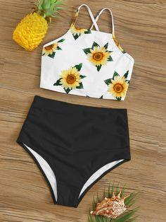 Sunflower Print Lace Up Back Bikini Set swimwear bikini swimsuit beach summer fashion beachwear model sea swim love like Swimsuits For Tweens, Bathing Suits For Teens, Summer Bathing Suits, Cute Bathing Suits, Cute Bikinis, Cute Swimsuits, Vintage Swimsuits, Summer Bikinis, Beach Pink