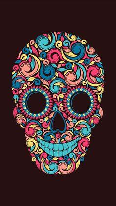 Gothic Wallpaper, Skull Wallpaper, Cool Wallpaper, Calaveras Mexicanas Tattoo, Sugar Skull Artwork, Graffiti Doodles, Colorful Skulls, Sugar Skull Tattoos, Cartoon Girl Drawing