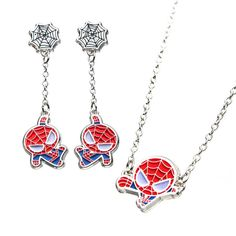 Spider-Man Earrings and Necklace Necklace Set, Pendant Necklace, Matching Necklaces, Spiderman, Dangle Earrings, Dangles, Man Shirt, Nerdy, Jewelry