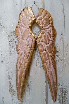 Wood wings pink gold carved French Santos by AnitaSperoDesign