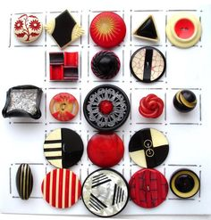 VINTAGE CELLULOID BUTTONS / ART DECO / BLACK & WHITE / RED