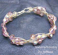 Wire Wrapped Bracelet  Sterling & Pink Handmade by JewelryArtistry, $35.00