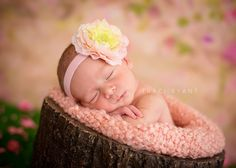 One of my favorite headbands for Spring! Flower headband in shades of light lime/yellow, peach and light pink on a light pink headband and fancy crystal center ♥ $11.50 plus shipping. Made by Danica's Chic Bowtique.    Photo by: Traci Ryant Photography ♥