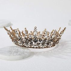 Amazon.com : SWEETV Baroque Queen Crown for Women, Rhinestone Wedding Crown, Black Tiara Costume Party Accessories for Brithday Prom : Beauty Party Accessories, Costume Accessories, Hair Accessories, Rhinestone Wedding, Crystal Rhinestone, Black Tiara, Crown For Women, Metal Crown, Queen Crown