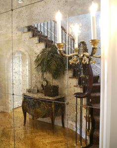 """Entry, antique glass, """"It's more difficult not to be trendy. Younger clients want what they see in shelter magazines or on television. Older clients, and I'm talking about my clients specifically, are more sure of their own taste."""" AMEN"""
