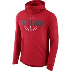 Nike Men's Chicago Bulls Therma-FIT Red Practice Performance Hoodie, Size: Medium, Team