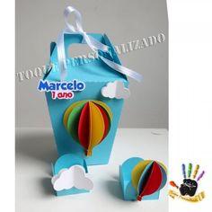 Toque Personalizado - Caixa trapezoidal - Balão e nuvens