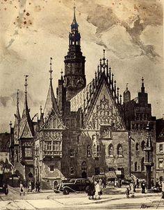 Das alte Rathaus von Breslau in den 30ern Barcelona Cathedral, The Good Place, Germany, City, German Language, Projects, Deutsch