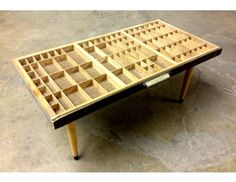 Upcycled Vintage Typesetter Tray coffee table (glass not shown)