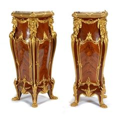 Pair of Louis XV Style Gilt Bronze Mounted Marquetry Pedestals in the Manner of Joseph-Emmanuel Zwiener