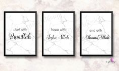 Allah, Bismillah, Inshaal - Haus How to Crafts Islamic Quotes, Islamic Posters, Islamic Art, Alhamdulillah, Allah, Bed Cover Design, Islamic Wall Decor, Canvas Designs, Diy Wall Art