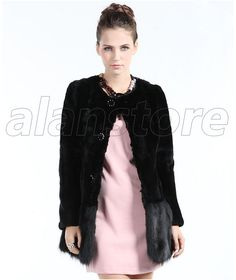 2013 Latest Style Rabbit Fur Overcoat For Women On Sale, Fox Fur Collar With Medium And Long Length Now At Lower Price