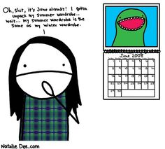 Comic by Natalie Dee: summer wardrobe