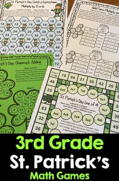 St. Patrick's Day Math Games for 3rd Grade. Bring some green fun into the third grade classroom with these 14 Printable St. Patrick's day math games including 9 math board games and 5 print and play math sheets. St. Patrick's Day math activities that are great fun and great review! $