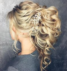 Wedding Hairstyles Medium Hair Wedding Curly Ponytail Updo - With wedding planning, there is a numbe Curly Ponytail, Short Hair Updo, My Hairstyle, Wedding Curls, Curly Wedding Hair, Wedding Ponytail, Hairstyle Wedding, Medium Hair Styles, Curly Hair Styles