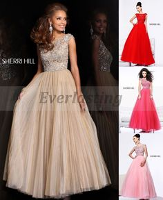 Designer A-line Cap Sleeves Corset Embellished Swarovski Crystals Red Fuchsia Evening Gowns Prom Dresses Sherri 2014 Hill E0264 $210.00