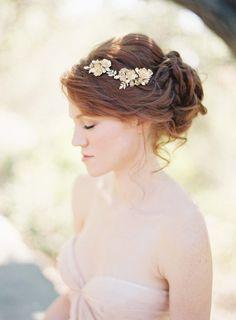 Gold Floral Bridal Hair Comb - Hochzeitswahn - Sei inspiriert!