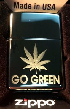 Zippo Custom Lighter - POT Weed Marijuana Ganja Leaf Go Green Logo Hi Polish…