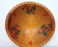 Vintage Folk Art Wood Bowl With Painted by VintagePolkaDotcom, $36.00 Strawberry Bowls, Wood Bowls, Serving Bowls, Folk Art, Plates, Unique Jewelry, Tableware, Handmade Gifts, Vintage