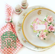 This listing is for ONE Pop UP Tabletop Box as shown Perfectly pink and girly box!  Each box is carefully curated and designed and filled with vintage tabletop and accessories to help start the perfect setting! Mix this box in with pieces loved in your own cabinets and add your own perfect touches and guests!  This box includes: - Set of 4 vintage floral Bavarian dinner plates - Set of 4 Vintage Limoges Gold monogram G bowls - Set of 4 Custom pink check monogram napkins - Set of 4 Vintage…
