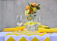 Styling by Decor It Events and Ambrosia Floral Designs, Melbourne  www.decorit.com.au #yellow #chevron #summer #wedding #linenhire #linen #melbourne #melbourneevents #decorations #inspiration #tablelinen #decoritevents (2)