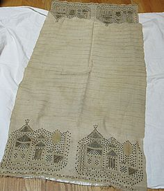 Antique Ottoman Turkish Woven Linen Fabric Runner Temples Metal Silk Embroidery