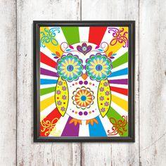 Sugar Owl Print Owl Wall Art Hippie Wall Art by PixelPixieDesign