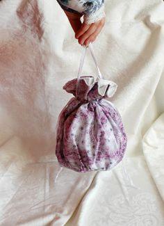 Pink-purple-gray floral pattern pompadour purse evening handbag by AlicesLittleRabbit on Etsy Purple Gray, Grey, Pompadour, Laundry Detergent, White Satin, Delicate, Purses, Bag, Floral