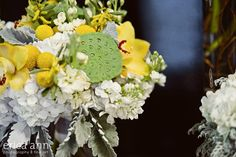 yellow and gray wedding flower bouquet http://lorasweddingflowers.com/users/awp.php?ln=110659