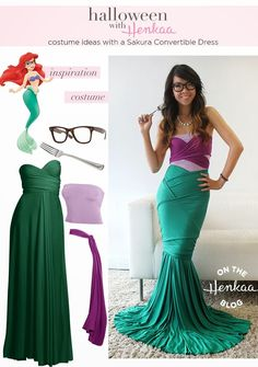 Don't pass up on an adult Halloween party to attend because you don't have a cute costume! I like this Hipster Ariel Costume - Get your Halloween costume inspiration and learn how creative you can get with a convertible dress! Costume Halloween, Diy Halloween, Costume Carnaval, Ariel Costumes, Holidays Halloween, Diy Costumes, Cosplay Costumes, Costume Ideas, Ariel Halloween