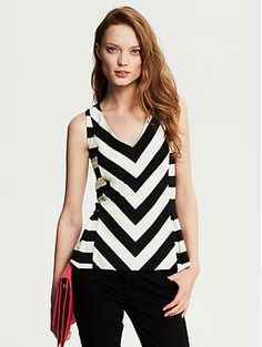Would look great with any bottom. Chevron Stripe Peplum Top