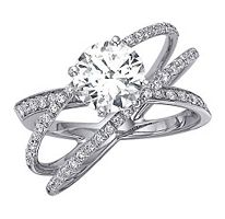 "vow renewal??  ""cord of three strands""  (god, husband, wife)  okay, i lied.  i LOOOOOOVE THIS ONE!!!     lol     1.00 ct. t.w. Criss-Cross Round Diamond Engagement Ring in 14k White Gold (H-I, I1)"