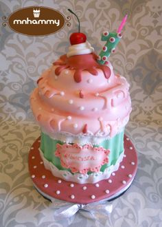 Giant Cupcake - Sponge cake with milk caramel filling and chocolate ganache in-between.