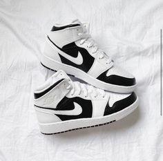 Custom Air Jordan 1 Panda Black White Painted Sneakers - Women's US 6/Men's US 4.5