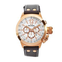 TW Steel Men's CE1019 CEO Canteen Brown Leather White Chronograph Dial Watch TW Steel. $383.50. Water-resistant to 330 feet (100 M). Quartz movement. White chronograph dial. Mineral crystals. Rose gold plated steel case brown leather band