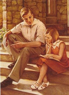"""American Girl Kit Kittredge's brother Charlie explains to her that there is a possibility that their dad will lose his job, like many other people did in the Great Depression. From her book """"Meet Kit""""."""