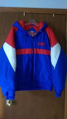NY Giants Football NFL Gameday Jacket by Turbo Sportswear Size XL Mens Hooded #NFLGamedaybyTurboSportswear #NewYorkGiants