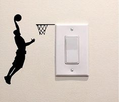Basketball Player Decal Vinyl Sticker Light Switch Sport Home Decor by FineDecalShop on Etsy