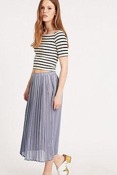 Cooperative by Urban Outfitters Stripe Pleated Midi Skirt in Blue #midiskirt #women #covetme #cooperativebyurbanoutfitters